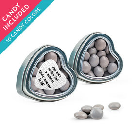 Personalized Milestones 50th Birthday Favor Assembled Heart Tin with Just Candy Milk Chocolate Minis
