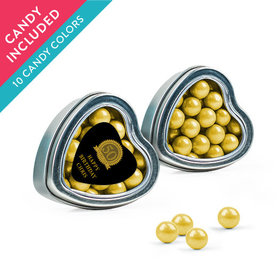 Personalized Milestones 50th Birthday Favor Assembled Heart Tin with Sixlets
