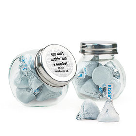 Personalized Milestones 50th Birthday Favor Assembled Mini Side Jar with Hershey's Kisses