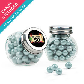 Personalized Milestones 50th Birthday Favor Assembled Mini Side Jar with Sixlets