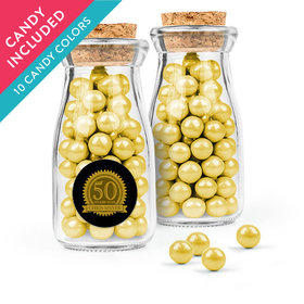 Personalized Milestones 50th Birthday Favor Assembled Glass Bottle with Cork Top with Sixlets