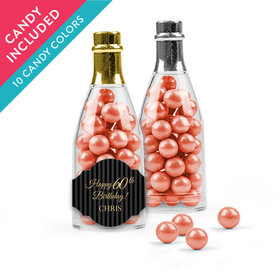 Personalized Milestones 60th Birthday Favor Assembled Champagne Bottle with Sixlets