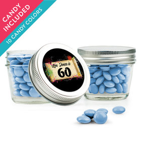 Personalized Milestones 60th Birthday Favor Assembled Small Mason Jar with Just Candy Milk Chocolate Minis