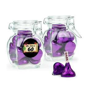 Personalized Milestones 60th Birthday Favor Assembled Swing Top Jar with Hershey's Kisses