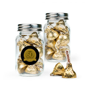 Personalized Milestones 60th Birthday Favor Assembled Mini Mason Jar with Hershey's Kisses