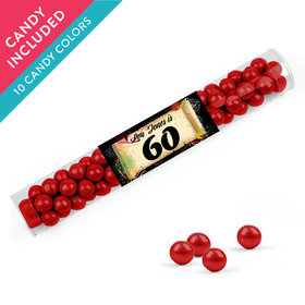 Personalized Milestones 60th Birthday Favor Assembled Clear Tube with Sixlets