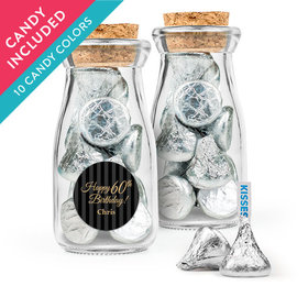 Personalized Milestones 60th Birthday Favor Assembled Glass Bottle with Cork Top with Hershey's Kisses