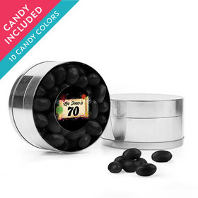 Personalized Milestones 70th Birthday Favor Assembled Small Round Plastic Tin with Just Candy Jelly Beans