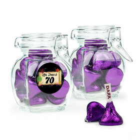 Personalized Milestones 70th Birthday Favor Assembled Swing Top Jar with Hershey's Kisses