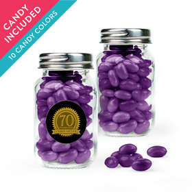 Personalized Milestones 70th Birthday Favor Assembled Mini Mason Jar with Just Candy Jelly Beans