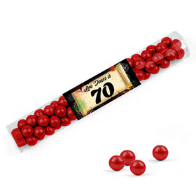 Personalized Milestones 70th Birthday Favor Assembled Clear Tube with Sixlets