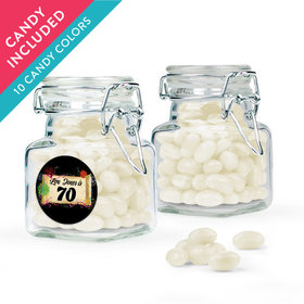 Personalized Milestones 70th Birthday Favor Assembled Swing Top Square Jar with Just Candy Jelly Beans