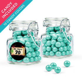 Personalized Milestones 70th Birthday Favor Assembled Swing Top Square Jar with Sixlets