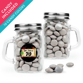 Personalized Milestones 70th Birthday Favor Assembled Mini Mason Mug with Just Candy Milk Chocolate Minis