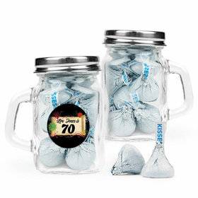 Personalized Milestones 70th Birthday Favor Assembled Mini Mason Mug with Hershey's Kisses