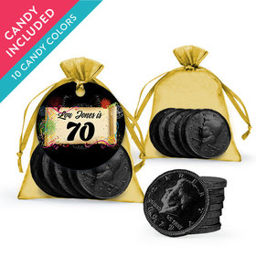 Personalized Milestones 70th Birthday Favor Assembled Organza Bag, Gift tag with Milk Chocolate Coins