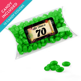 Personalized Milestones 70th Birthday Favor Assembled Pillow Box with Just Candy Jelly Beans
