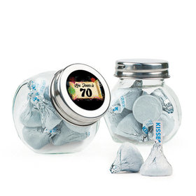 Personalized Milestones 70th Birthday Favor Assembled Mini Side Jar with Hershey's Kisses