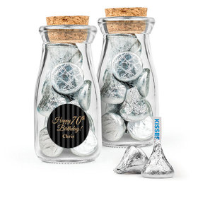 Personalized Milestones 70th Birthday Favor Assembled Glass Bottle with Cork Top with Hershey's Kisses