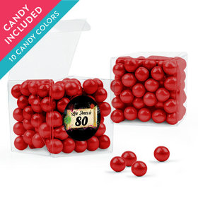 Personalized Milestones 80th Birthday Favor Assembled Clear Box with Sixlets