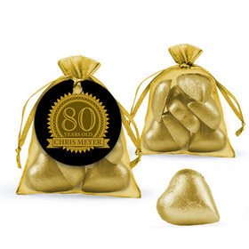 Personalized Milestones 80th Birthday Favor Assembled Organza Bag with Milk Chocolate Hearts