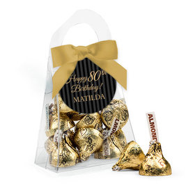 Personalized Milestones 80th Birthday Favor Assembled Purse with Hershey's Kisses
