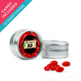 Personalized Milestones 80th Birthday Favor Assembled Mini Round Tin with Just Candy Jelly Beans