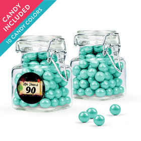 Personalized Milestones 90th Birthday Favor Assembled Swing Top Square Jar with Sixlets