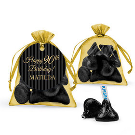 Personalized Milestones 90th Birthday Favor Assembled Organza Bag with Hershey's Kisses