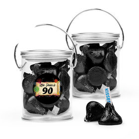 Personalized Milestones 90th Birthday Favor Assembled Paint Can with Hershey's Kisses