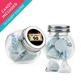 Personalized Milestones 90th Birthday Favor Assembled Mini Side Jar with Hershey's Kisses