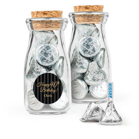 Personalized Milestones 90th Birthday Favor Assembled Glass Bottle with Cork Top with Hershey's Kisses