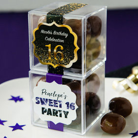 Personalized Sweet 16 Birthday JUST CANDY® favor cube with Premium Milk & Dark Chocolate Sea Salt Caramels