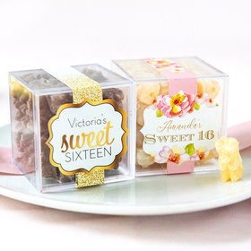 Personalized Sweet 16 Birthday JUST CANDY® favor cube with Premium Chocolate Covered Gummy Bears