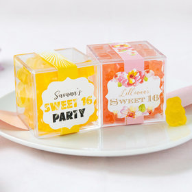Personalized Sweet 16 Birthday JUST CANDY® favor cube with Gummy Bears
