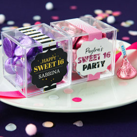 Personalized Sweet 16 Birthday JUST CANDY® favor cube with Hershey's Kisses