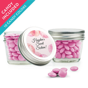 Personalized Sweet 16 Birthday Favor Assembled Small Mason Jar with Just Candy Milk Chocolate Minis