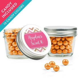 Personalized Sweet 16 Birthday Favor Assembled Small Mason Jar with Sixlets