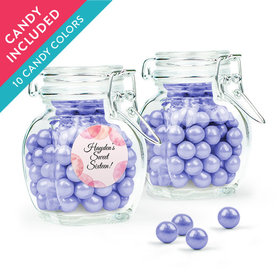 Personalized Sweet 16 Birthday Favor Assembled Swing Top Jar with Sixlets