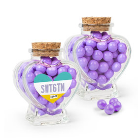 Personalized Sweet 16 Birthday Favor Assembled Heart Jar with Sixlets
