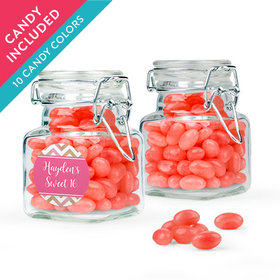 Personalized Sweet 16 Birthday Favor Assembled Swing Top Square Jar with Just Candy Jelly Beans