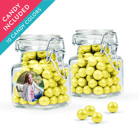 Personalized Sweet 16 Birthday Favor Assembled Swing Top Square Jar with Sixlets