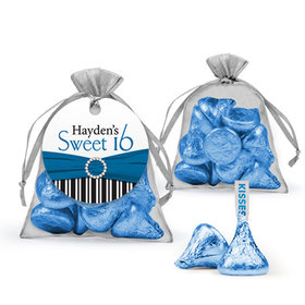 Personalized Sweet 16 Birthday Favor Assembled Organza Bag with Hershey's Kisses