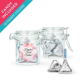 Personalized Sweet 16 Birthday Favor Assembled Swing Top Round Jar with Hershey's Kisses