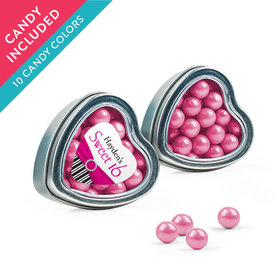 Personalized Sweet 16 Birthday Favor Assembled Heart Tin with Sixlets