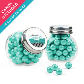 Personalized Sweet 16 Birthday Favor Assembled Mini Side Jar with Sixlets