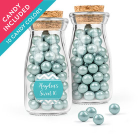 Personalized Sweet 16 Birthday Favor Assembled Glass Bottle with Cork Top with Sixlets