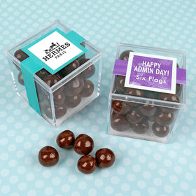 Personalized Administrative Professionals Day JUST CANDY® favor cube with Premium Rum Cordials - Dark Chocolate