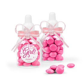 Personalized Girl Birth Announcement Favor Assembled Pink Baby Bottle with Just Candy Milk Chocolate Minis