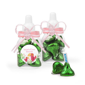 Personalized Girl Birth Announcement Favor Assembled Pink Baby Bottle with Hershey's Kisses